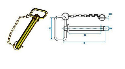 hitch pin with chain and linch pin
